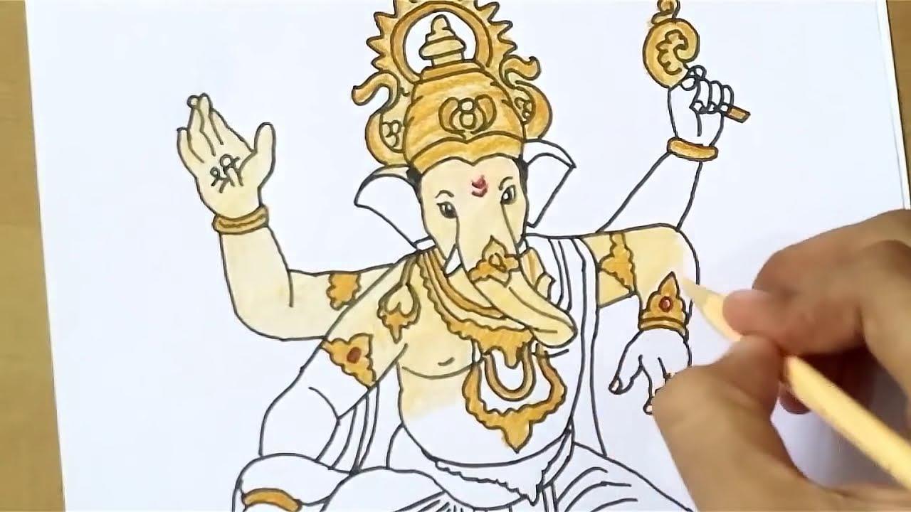 How To Draw Ganpati Bappa God Ganesha Drawing Youtube