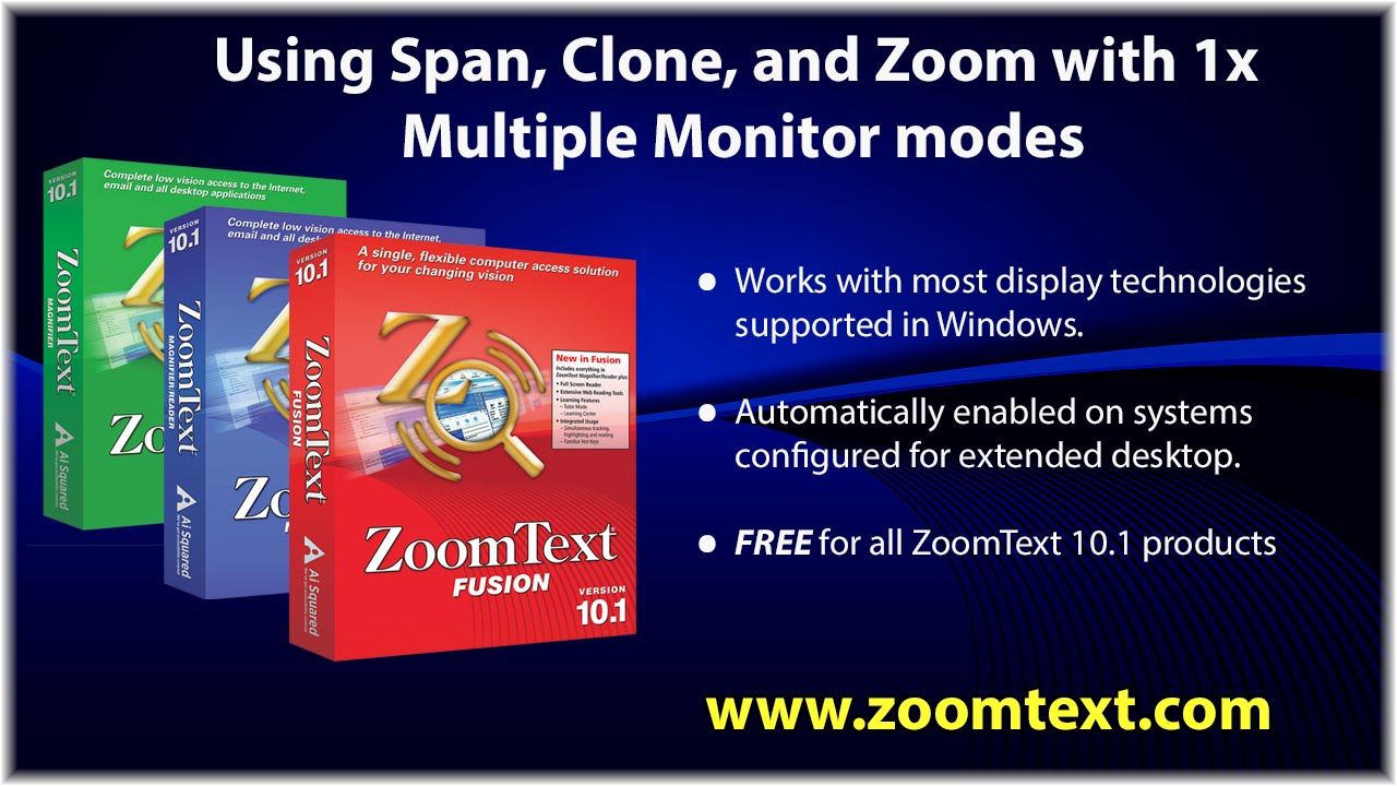 Multiple Monitor Support - zoomtext com
