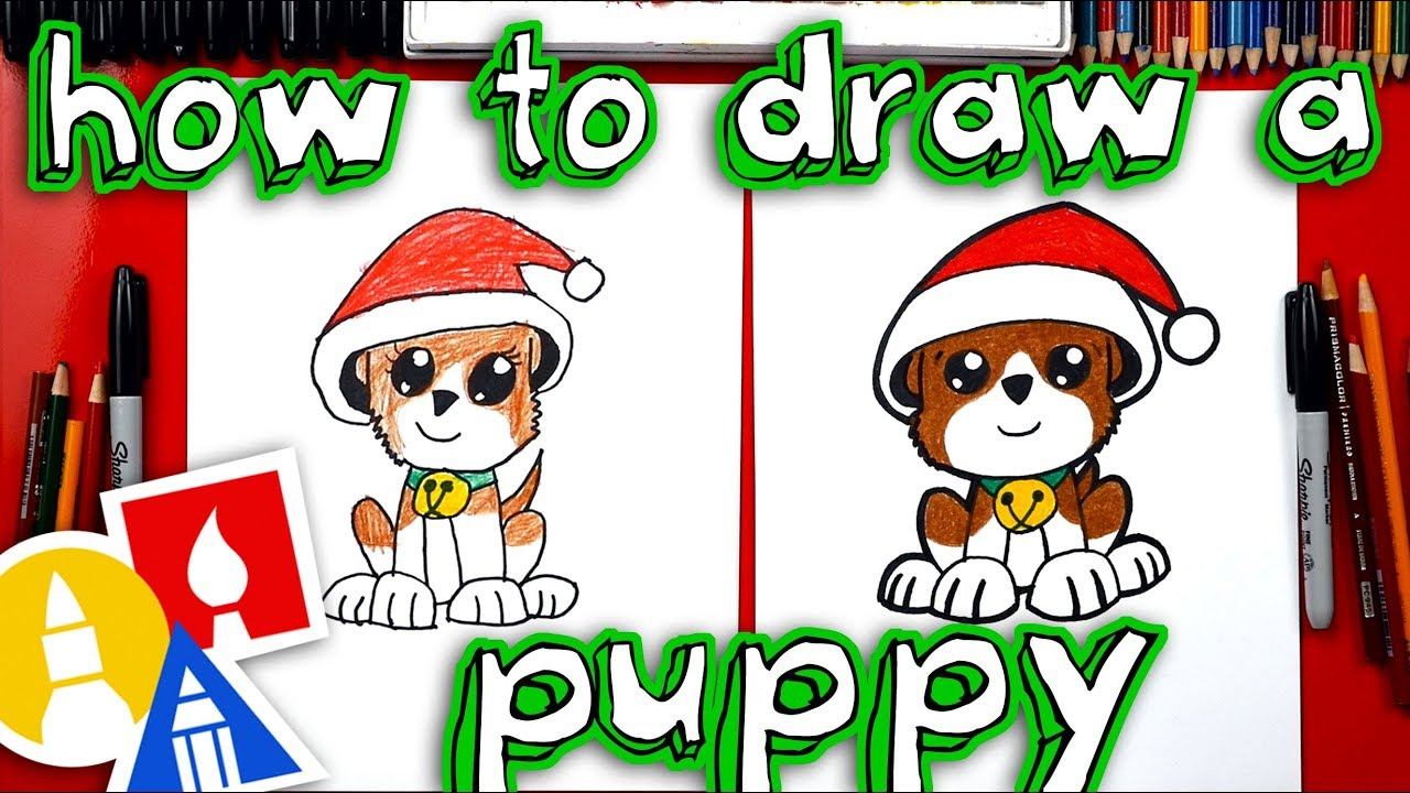 How To Draw A Christmas Puppy - YouTube