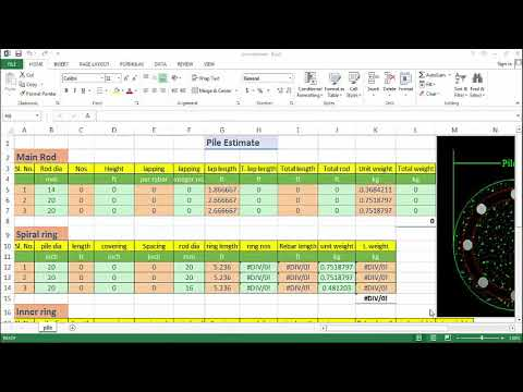 Pile estimation using excel sheet
