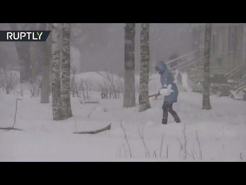 Середина мая: жители Сегежи продолжают чистить улицы от снега