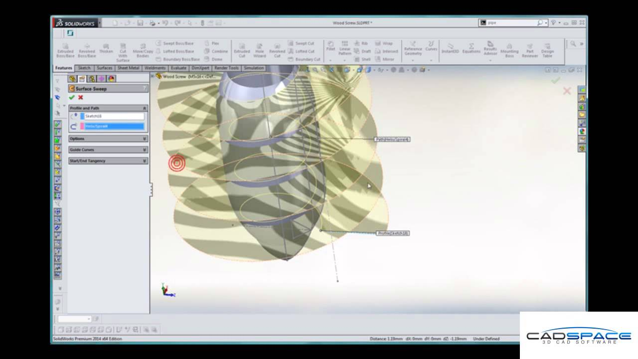 Modelling a Wood Screw in SolidWorks – CADspace