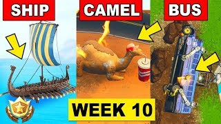 Visit the Viking Ship, a Camel and Crashed Battle Bus - Fortnite Week 10 Challenge (Where to find)
