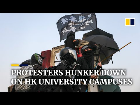 Student protesters hunker