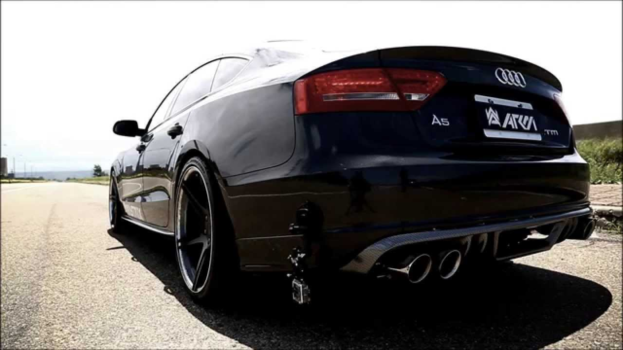 audi a5 2 0 tfsi to the s5 quad tips style and sound with armytrix full valvetronic exhaust. Black Bedroom Furniture Sets. Home Design Ideas