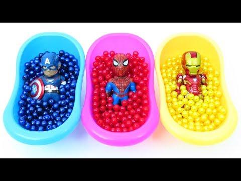 Aprende los colores con los vengadores y sorpresa Egg toys (español) | learn colors Spanish