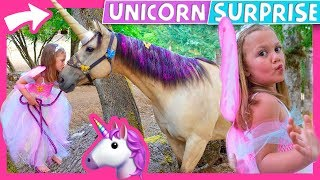 Goose wanted a Unicorn Birthday party so we surprise her with a rea...
