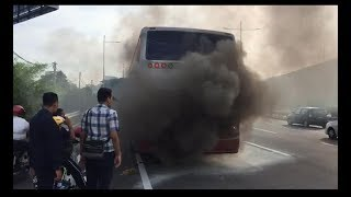 MACC bus ferrying RTD officers catches fire