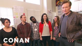 Conan makes it a point to get to know his interns well -- especially ol' Pencil Guy and Glasses Woman. More CONAN @ http://teamcoco.com/video Team Coco is ...