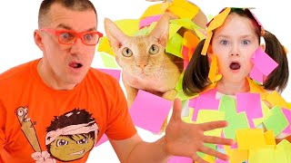 Liza, cat and stickers | Dad hurries to the rescue | SKORIKI