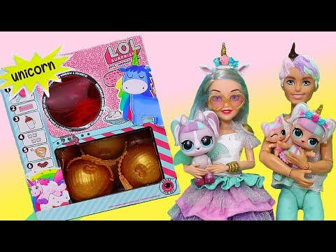 Barbie LOL Families ! Unicorn Family Shops for New Pet | Toys and Dolls Fun Play for Kids | SWTAD