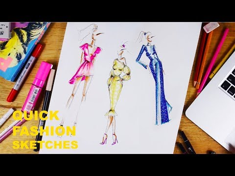 QUICK FASHION SKETCHES - A TIME LAPSE| Lucy Garland