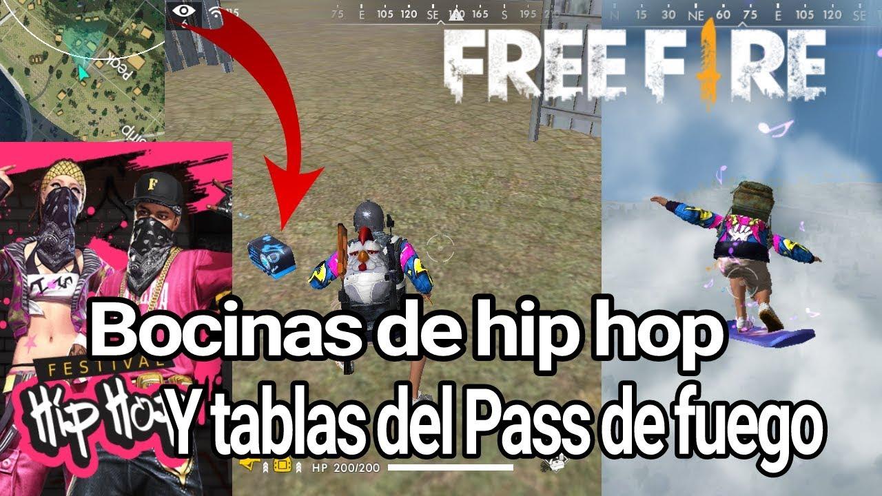 Así suenan las Bocinas, y la patineta De FREE FIRE(Pass de fuego HIP HOP)