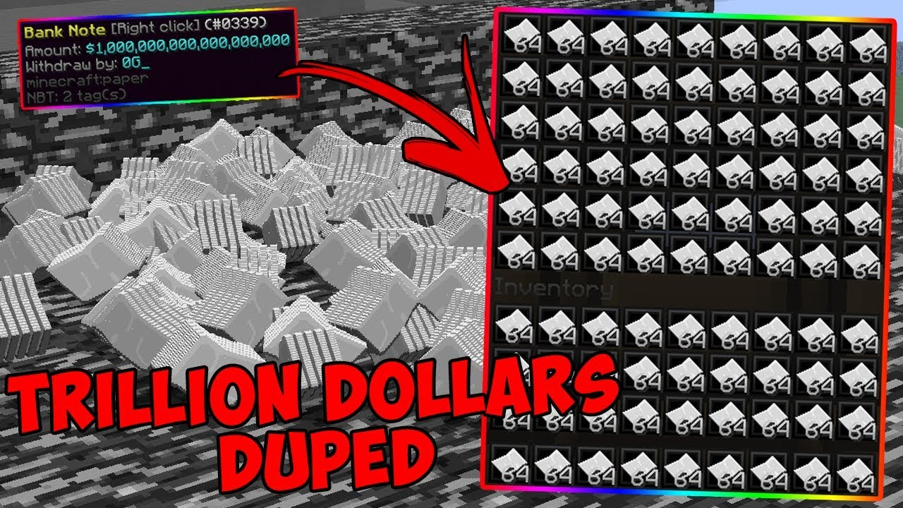 ULTIMATE DUPING TRILLIONS OF DOLLARS IN MINECRAFT | BRAND NEW DUPE METHOD  WORKING 2019 | DUPE GLITCH