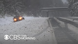 Snow and ice paralyze drivers in Virginia