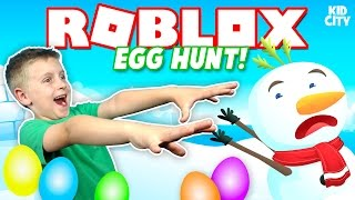 ROBLOX: Egg Hunt 2017 + Crazy Snow Man Chase & Toys Unboxing KIDCITY