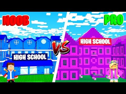 Minecraft NOOB VS PRO : GIRL HIGH SCHOOL VS BOY HIGH SCHOOL in Minecraft!
