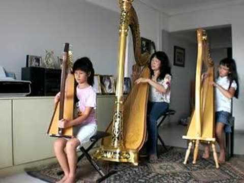 Yue Liang Dai Biao Wo De Xin - Harp Trio - Magdalene Wong & daughters Katherine and Karen Tay