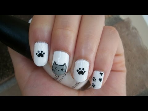 Cat Nail Art Design - Cat Nail Art Design - YouTube