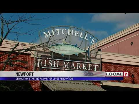 Former Mitchell's Fish Market Being Demolished As Part Of Levee Renovation