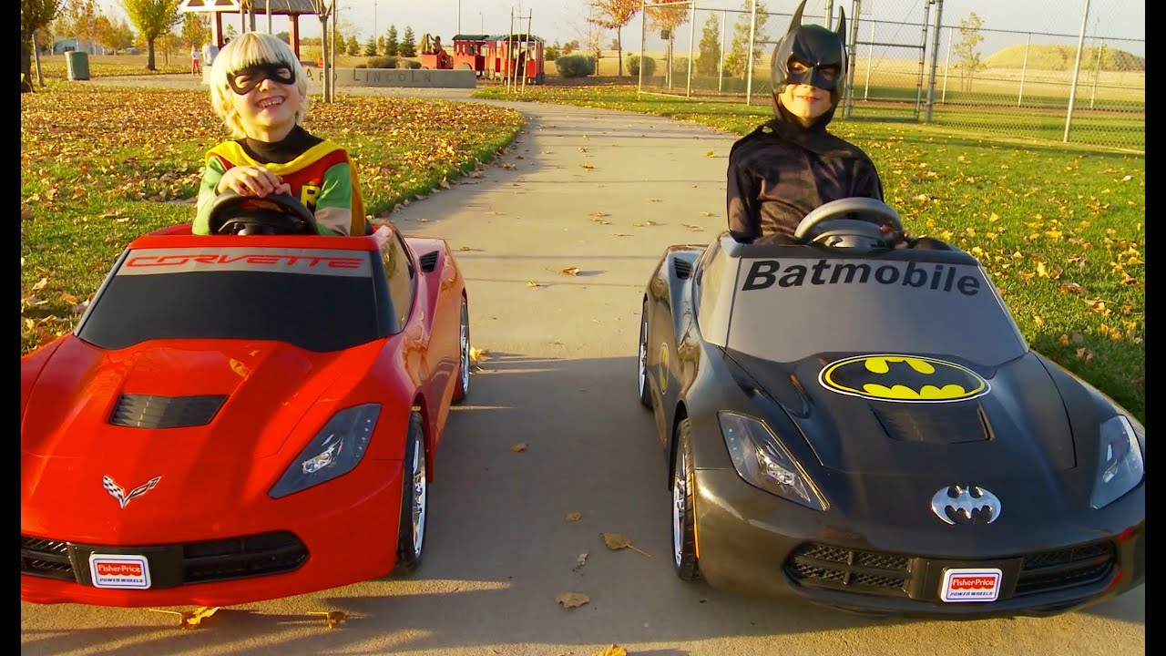batman vs robin power wheels race gabe and garrett youtube