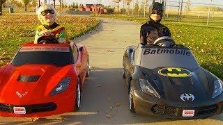 Batman vs Robin Power Wheels Race | Gabe and Garrett