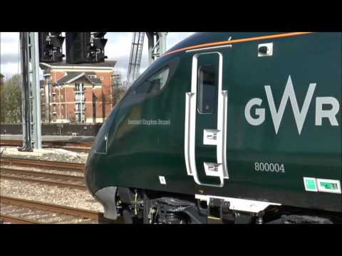 800003/004 in GWR livery, at Cardiff. April 3rd 2017. 1st run to Swansea Maliphant