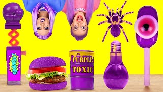 EATING ONLY PURPLE FOOD FOR 24 HOURS || One Color Food Challenge! Mukbang by 123 GO! FOOD