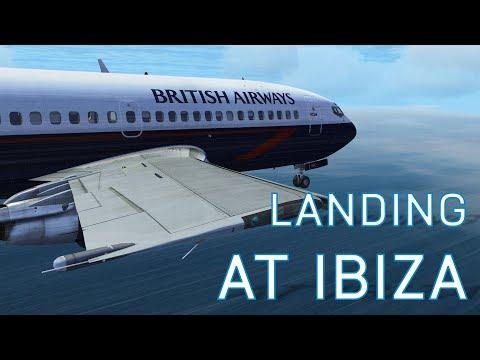 FSX Landing at Ibiza   BA 737-200   Bad Weather