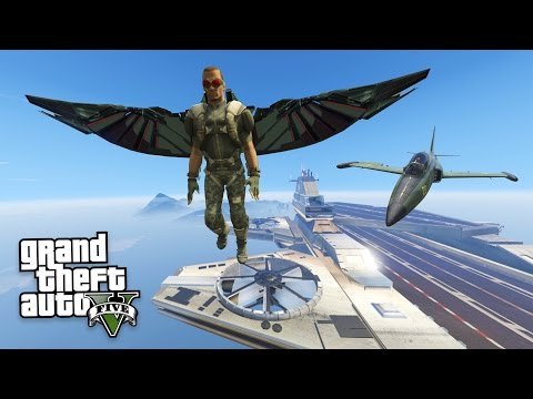 "GTA 5 Mods - SUPERHERO ""FALCON"" MOD w/ S.H.I.E.L.D. HELICARRIER MOD!!  (GTA 5 Mods Gameplay)"