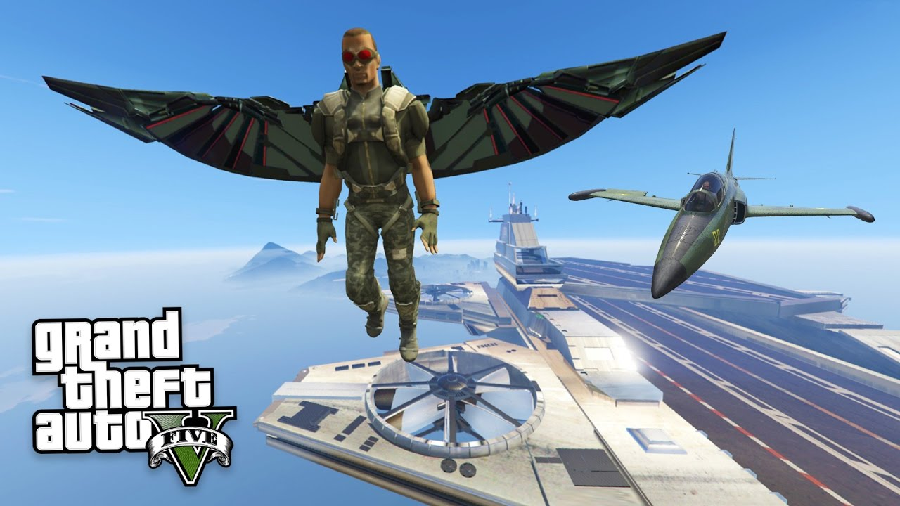 GTA 5 Mods - SUPERHERO `FALCON` MOD w/ S H I E L D  HELICARRIER MOD!! (GTA  5 Mods Gameplay)