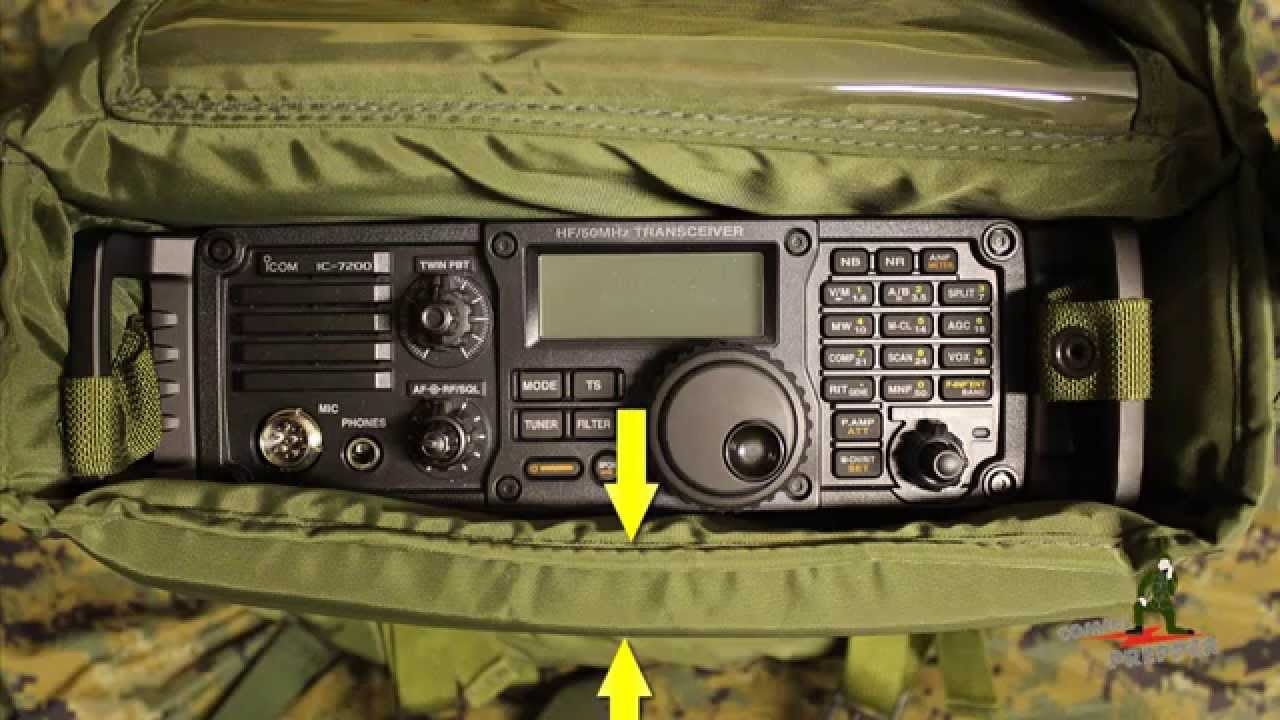 Packing the Icom IC-7200 HF Radio in Surplus Harris Falcon II Radio Pack