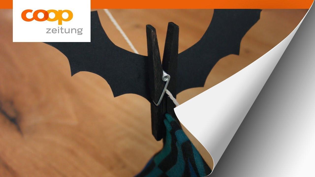 Basteln Mit Kindern Die Fledermaus Halloween Dekoration Youtube