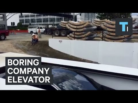 Elon Musk showed off the elevator that will bring cars into tunnels under busy LA traffic
