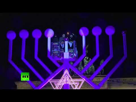Hanukkah menorah lit in Berlin amid pro-Palestinian protest in city