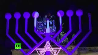 Hanukkah menorah lit in Berlin amid pro-Palestinian protest in city