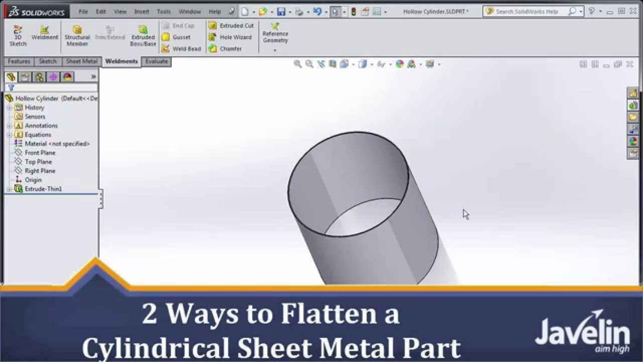 Solidworks Tutorial 2 Ways To Flatten A Cylindrical Sheet Metal Parts Of Plane Diagram Part Youtube