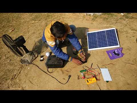 How to Install a Solar Panel with Solar Controller, Battery and Inverter in hindi