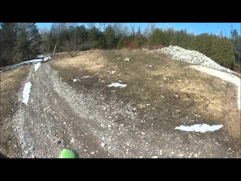 Riding over what is left of the building at Newtonville Ontario