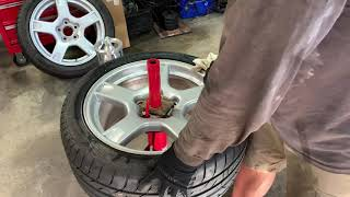 Harbor Freight Manual Tire Changer for 275/40/ZR18 Corvette tires using General Purpose Tire Irons.