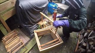 wasp nest removal by fire burning a wasp nest to save our honey bees
