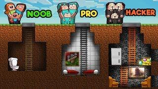 Minecraft - UNDERGROUND FAMILY HOUSE! (NOOB vs PRO vs HACKER)