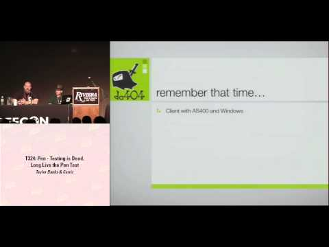 DEF CON 16 - Taylor Banks & Carric: Pen-Testing is Dead, Long Live the Pen Test