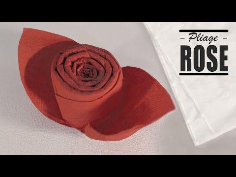 Pliage de serviette Noel: Bouton de Rose
