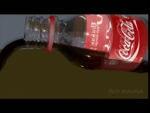 Coke Pouring 3D Animation test, using Cinema 4D and Real flow
