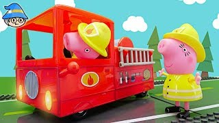 Peppa Pig fire engine firefighter toy. Extinguish a fire. Official Episode of Peppa Pig.