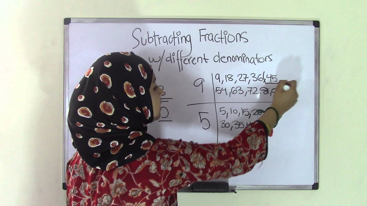 5th Grade Math Subtracting Fractions With Different Denominators