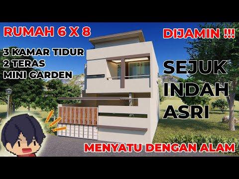 Rumah Minimalis 2 Lantai Ukuran 6x6  desain rumah 6x8 2 lantai 3 kamar konsep hijau dan asri
