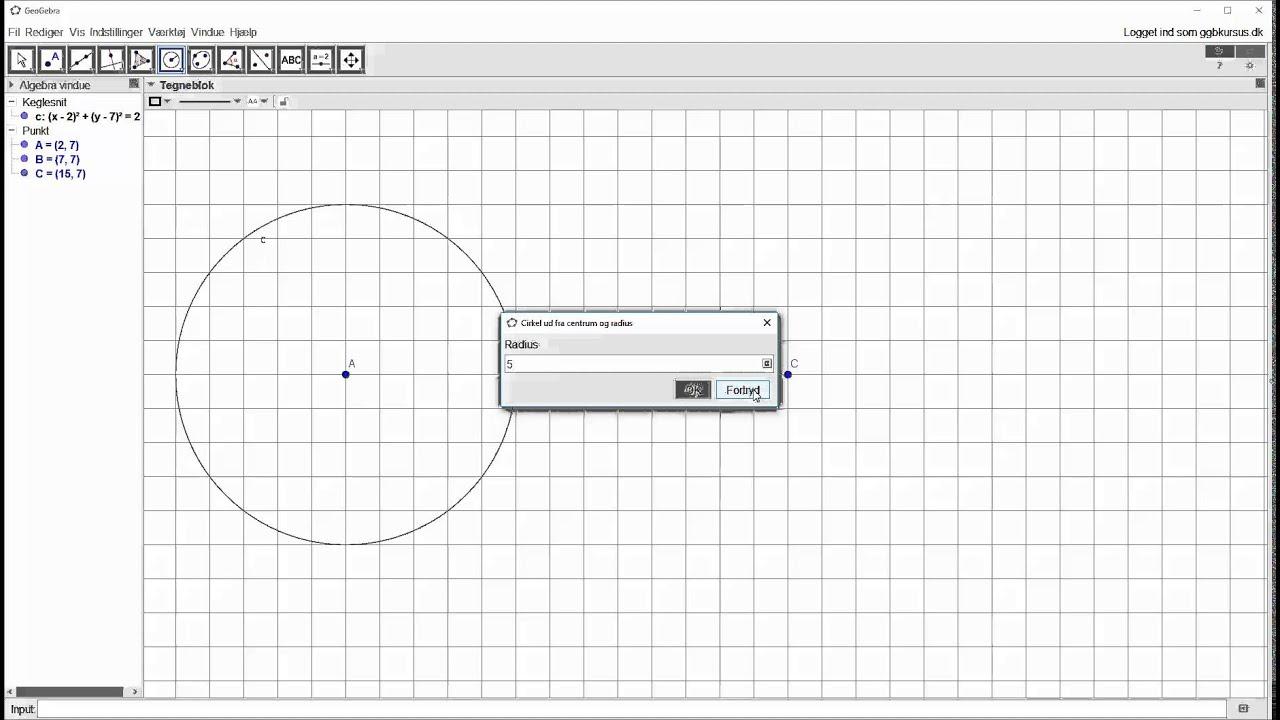 Opstartsøvelse - Konstruer cirkel med given radius