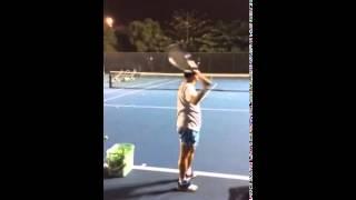 嘉義張森網球教學-上旋,側旋,平直發球示範-2